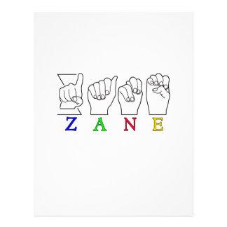 ZANE FINGERSPELLED NAME ASL SIGN LETTERHEAD