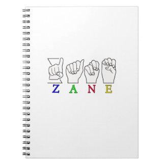 ZANE FINGERSPELLED NAME ASL SIGN SPIRAL NOTEBOOK