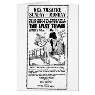 Zane Grey's Last Trail 1922 silent movie ad Card