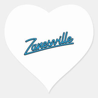 Zanesville in cyan heart sticker
