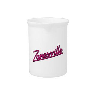 Zanesville in magenta pitchers