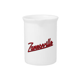 Zanesville in red drink pitchers
