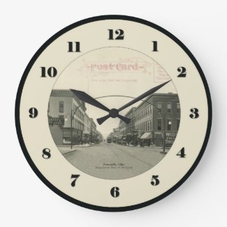 Zanesville Ohio Post Card Clock - Main Street