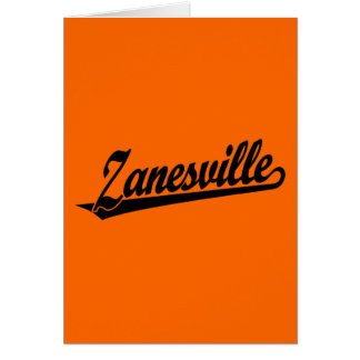 Zanesville script logo in black card