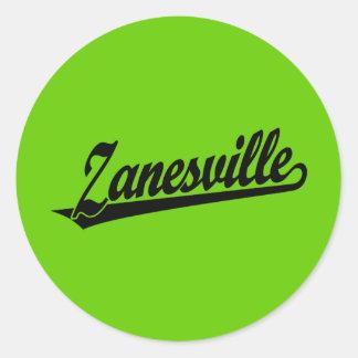 Zanesville script logo in black classic round sticker