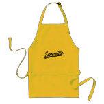 Zanesville script logo in black distressed adult apron