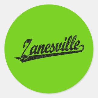 Zanesville script logo in black distressed classic round sticker