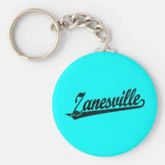 Zanesville script logo in black distressed keychain