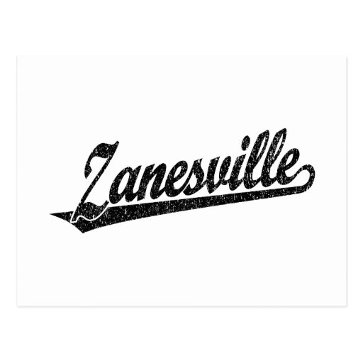 Zanesville script logo in black distressed postcard