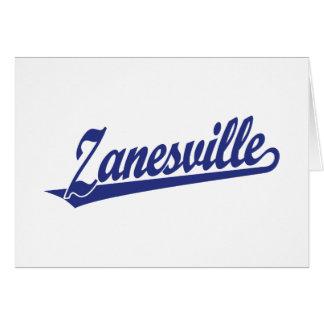 Zanesville script logo in blue card