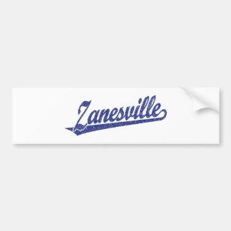 Zanesville script logo in blue distressed bumper sticker