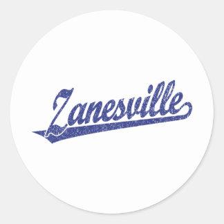 Zanesville script logo in blue distressed classic round sticker