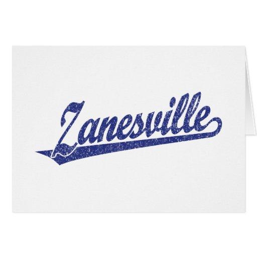 Zanesville script logo in blue distressed greeting card