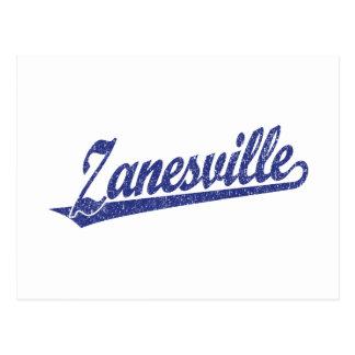 Zanesville script logo in blue distressed postcard