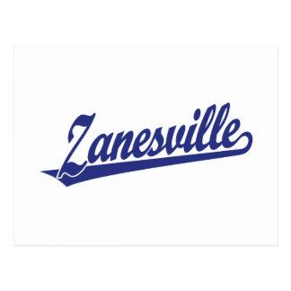 Zanesville script logo in blue postcard