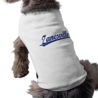 Zanesville script logo in blue shirt
