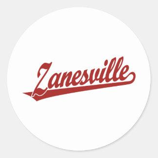 Zanesville script logo in red classic round sticker