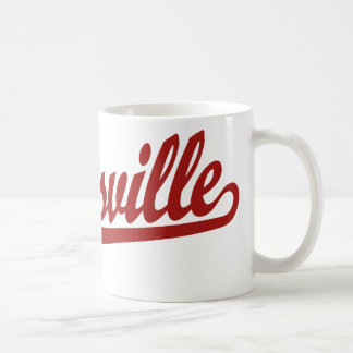 Zanesville script logo in red coffee mug