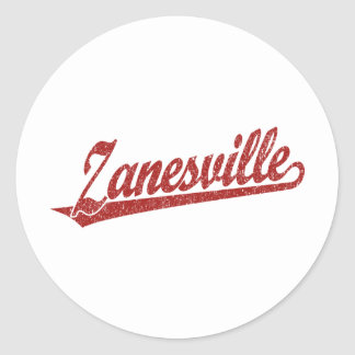 Zanesville script logo in red distressed classic round sticker