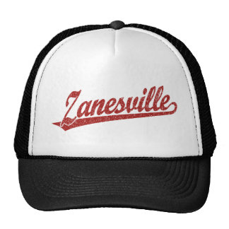 Zanesville script logo in red distressed mesh hats
