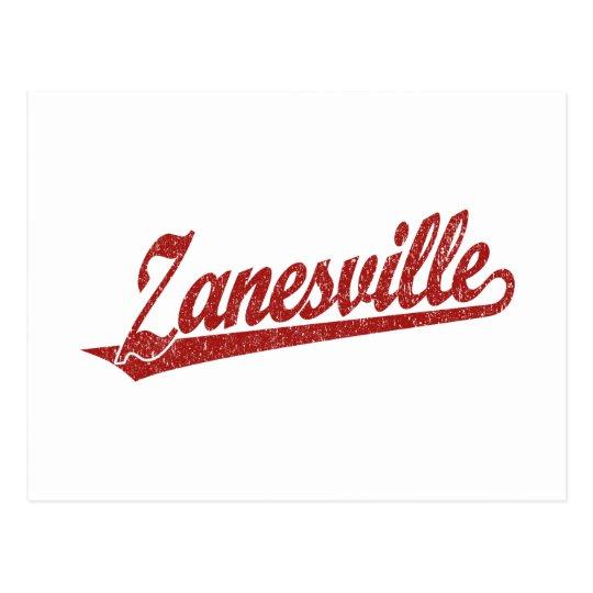 Zanesville script logo in red distressed postcard