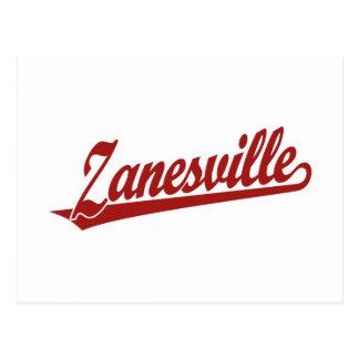 Zanesville script logo in red postcard