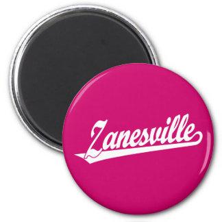 Zanesville script logo in white 2 inch round magnet