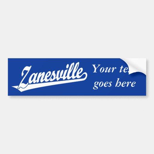 Zanesville script logo in white bumper sticker