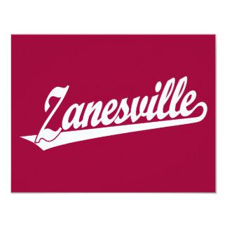 Zanesville script logo in white card