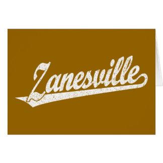 Zanesville script logo in white distressed card