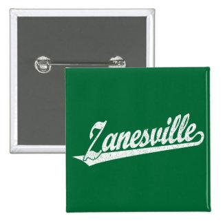 Zanesville script logo in white distressed pinback button