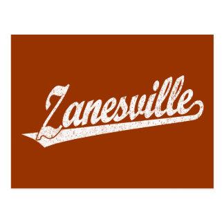 Zanesville script logo in white distressed postcard