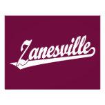 Zanesville script logo in white flyer