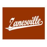 Zanesville script logo in white post card