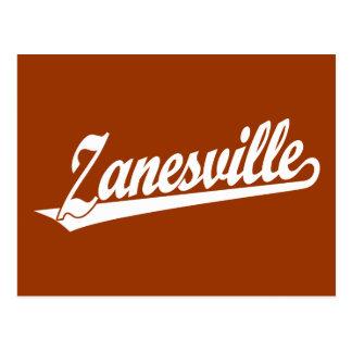 Zanesville script logo in white postcard