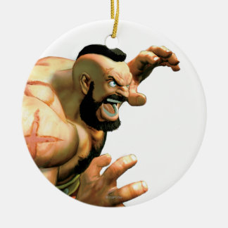Zangief Ready to Grab Double-Sided Ceramic Round Christmas Ornament