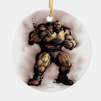 Zangief Stance Double-Sided Ceramic Round Christmas Ornament