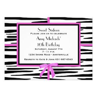 Zanny Zebra Birthday Party Invitation