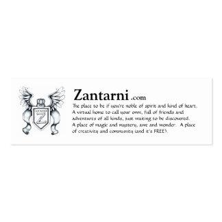 Zantarni advert card (blk/wh) mini business card