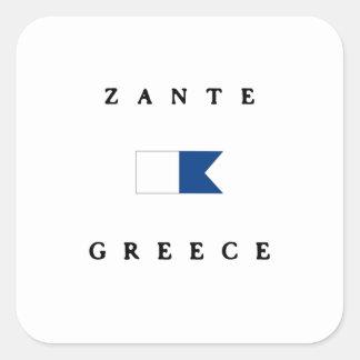 Zante Greece Alpha Dive Flag Square Sticker