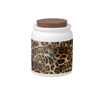 Zany and Spiffy Leopard Spots Leather Grain Look Candy Jars