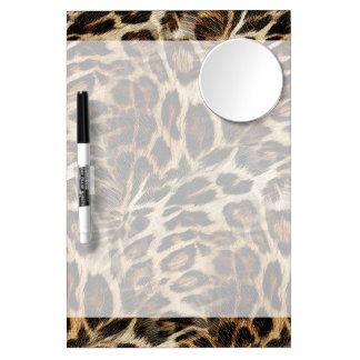 Zany and Spiffy Leopard Spots Leather Grain Look Dry Erase Board With Mirror