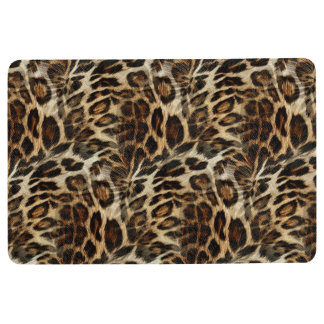 Zany and Spiffy Leopard Spots Leather Grain Look Floor Mat