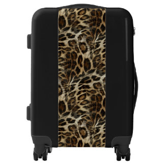 Zany and Spiffy Leopard Spots Leather Grain Look Luggage
