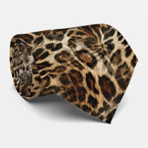 Zany and Spiffy Leopard Spots Leather Grain Look Neck Tie