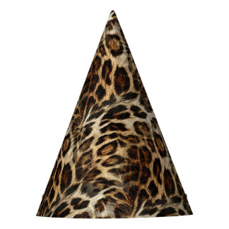 Zany and Spiffy Leopard Spots Leather Grain Look Party Hat