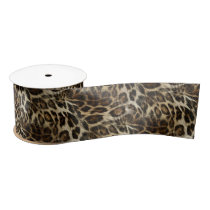 Zany and Spiffy Leopard Spots Leather Grain Look Satin Ribbon