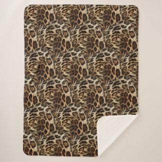 Zany and Spiffy Leopard Spots Leather Grain Look Sherpa Blanket
