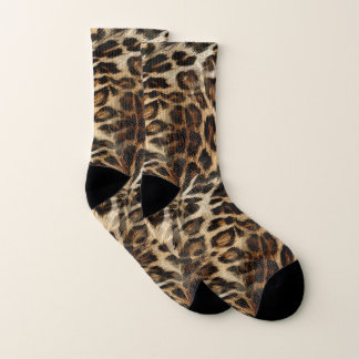 Zany and Spiffy Leopard Spots Leather Grain Look Socks