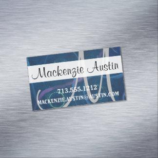 Zany Blue Black Chalkboard Crayon Pastel Monogram Magnetic Business Card